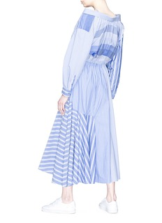 ENFÖLD Stripe poplin patchwork maxi shirt dress