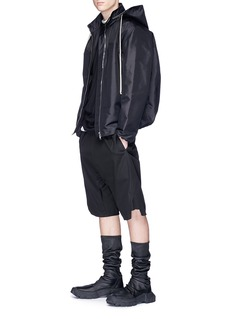 Rick Owens Retractable hood oversized windbreaker jacket