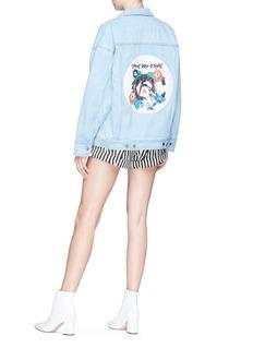 HELEN LEE Sequinned geometric floral bunny denim jacket