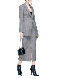 HELEN LEE Check plaid front vent midi pencil skirt