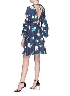 HELEN LEE Tie cutout back geometric bunny print dress