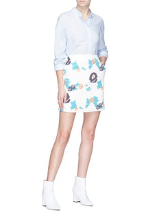 HELEN LEE Geometric floral bunny print skirt