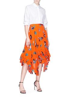 HELEN LEE Ruffle geometric floral rabbit print skirt