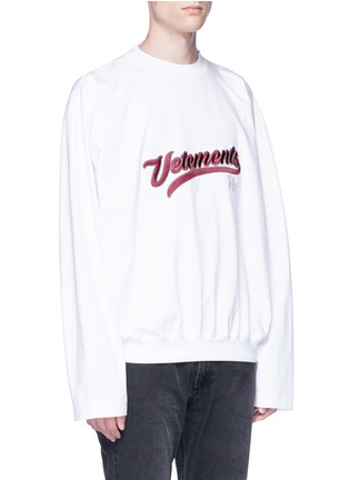 Front View - Click To Enlarge - Vetements - Logo embroidered long sleeve T-shirt