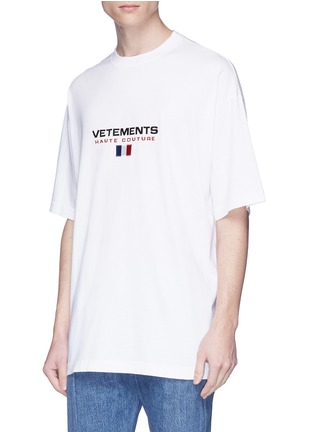 Detail View - Click To Enlarge - Vetements - Flag logo embroidered unisex T-shirt