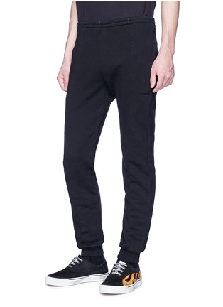 Front View - Click To Enlarge - Vetements - Label appliqué tapered leg sweatpants