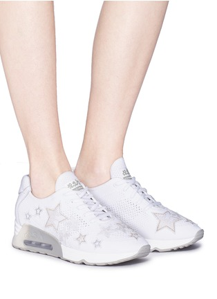 Figure View - Click To Enlarge - Ash - 'Lucky Star' appliqué mixed knit sneakers