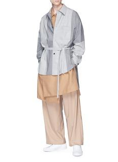 ETHOSENS Belted colourblock wool shirt