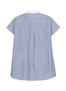 SACAI 儿童款百褶布饰拼接条纹纯棉衬衫