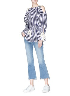 Ports 1961 Ribbon drawstring stripe cold shoulder top