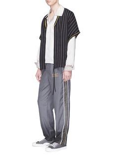 Necessity Sense 'Tsuno' pinstripe zip placket knit T-shirt