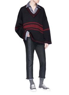 Necessity Sense 'Rik' fringe cuff cropped stripe jeans