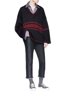 Necessity Sense 'Coli Lauren' stripe oversized V-neck sweater