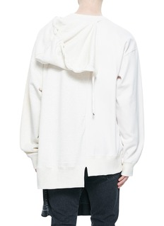 MIHARAYASUHIRO 拼接印花不对称纯棉连帽卫衣