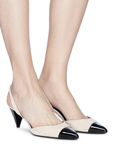 Stella Luna Cone heel patent leather toe suede slingback pumps
