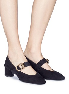 Stella Luna Turnlock buckle suede Mary Jane pumps