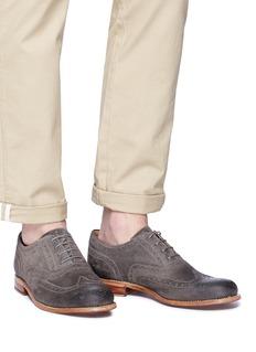 Grenson William做旧感绒面真皮牛津鞋