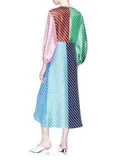 TIBI Delphina拼色条纹不对称真丝连衣裙