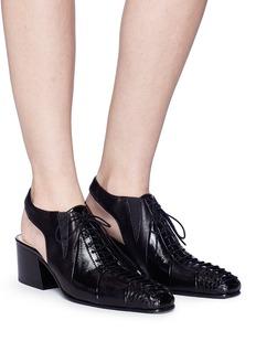 Acne Studios 'Lusie' cutout counter leather patchwork lace-up pumps