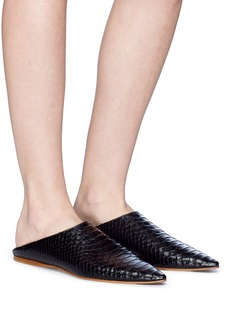 Acne Studios 'Aminatha' snake embossed leather step-in babouche loafers