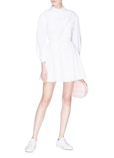 Sandy Liang 'Porter' faux pearl overlap front poplin dress