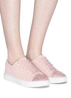 Kenneth Cole 'Kam' Swarovski crystal embellished toe cap suede sneakers