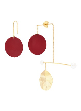 Main View - Click To Enlarge - Anissa Kermiche - 'Mobile Rouge' mismatched drop earrings