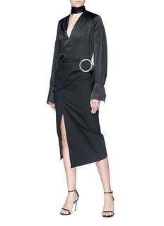 MATÉRIEL by Aleksandre Akhalkatsishvili Round buckle panel twill pencil skirt