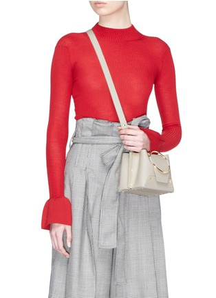 Front View - Click To Enlarge - Yuzefi - 'Delila' oversized ring mini leather bucket bag