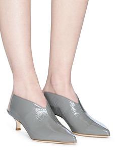 TIBI Jase皱感漆皮小猫跟穆勒鞋