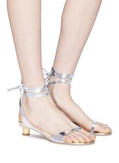 Tibi 'Scott' ankle tie mirror leather sandals