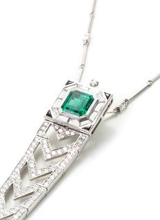 Mellerio Diamond emerald 18k white gold link pendant necklace