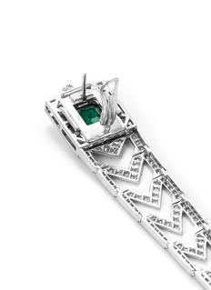 Mellerio Diamond emerald 18k white gold link drop earrings