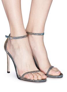 Stuart Weitzman 'Nudist Traditional' glitter lamé sandals