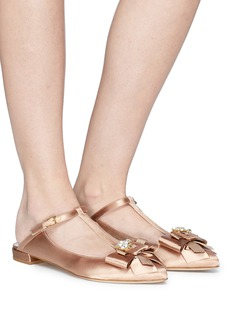 Stuart Weitzman 'Duckie' glass crystal bow satin mules