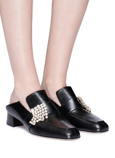 Stuart Weitzman 'Irises' glass crystal fringe leather babouche mules