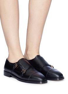 Stuart Weitzman Saffiano leather double monk strap shoes