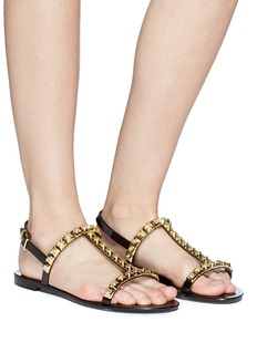 Stuart Weitzman 'Jelrose' metallic rose studded PVC sandals