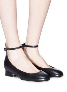 Stuart Weitzman 'Polly' ankle strap leather ballet pumps