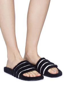 Adidas 'Adilette' stripe teddy fleece slide sandals