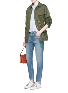 Sandrine Rose Hummingbird embroidered slim boyfriend jeans