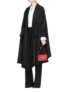 ValentinoVirgin wool belted ruffle coat