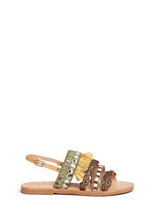 MABU by Maria BK 'Eris' tribal embroidered tassel leather sandals