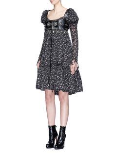 Alexander McQueenFloral print puff shoulder voile dress