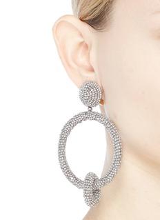 Oscar de la Renta Beaded interlocking hoop clip earrings
