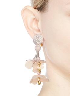 Oscar de la Renta Threaded floral clip drop earrings