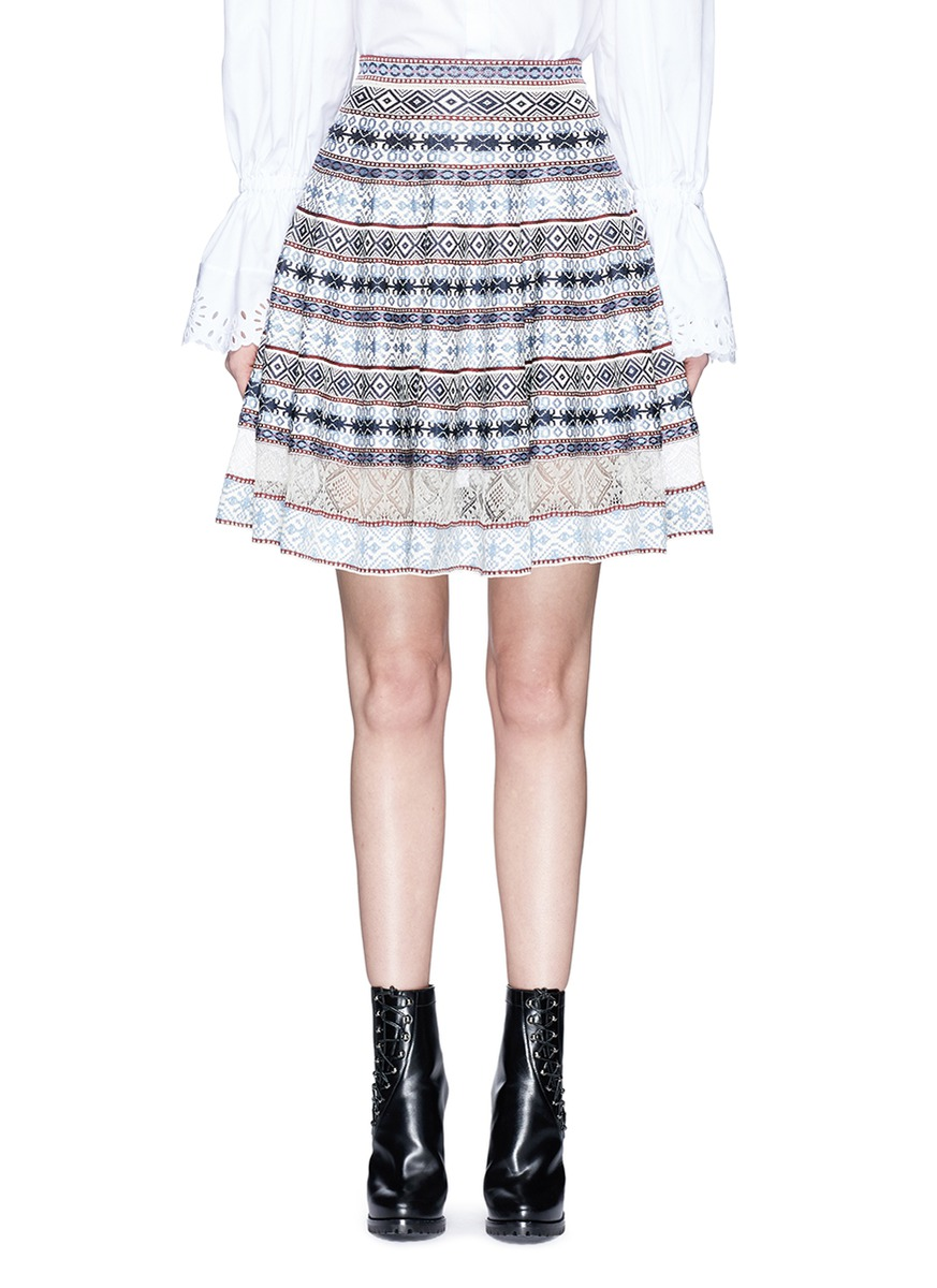 Silk lace insert Fair Isle jacquard flared skirt by Alexander McQueen