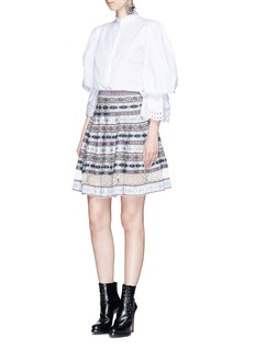 Alexander McQueenSilk lace insert Fair Isle jacquard flared skirt