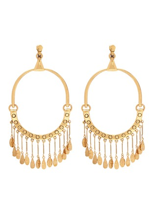 Main View - Click To Enlarge - Chloé - 'Quinn' fringe charm hoop clip earrings
