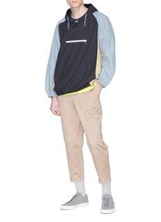 Digawel Zip pocket colourblock hoodie